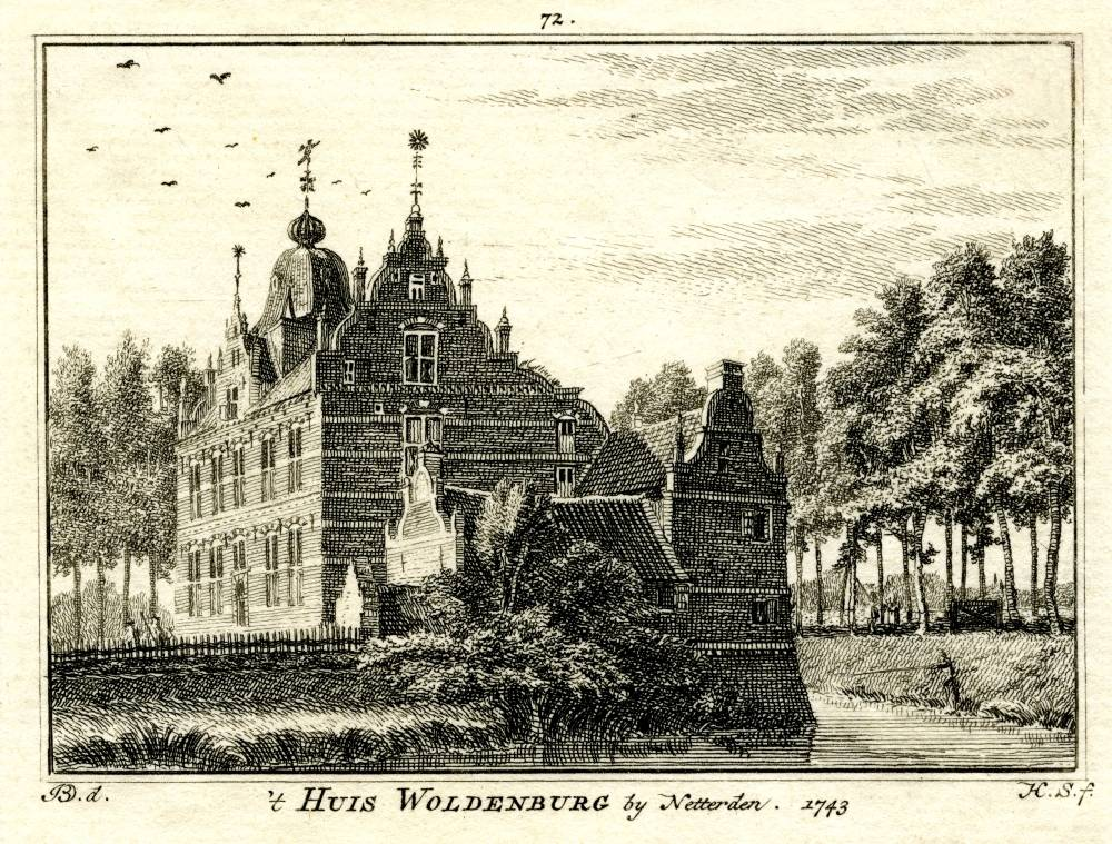 Woldenburg in Netterden. Tekening Jan de Beijer, gravure Hendrik Spilman (Uit: Het Verheerlykt Nederland, Isaac Tirion, 1745/1774)